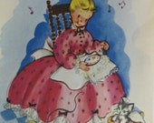 Vintage Needlepoint Embroidery Wife Anniversary Greeting Card
