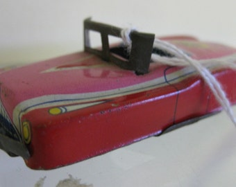 Vintage Pink Tin Convertible Car Japan Penny Tiger Toy Collectible