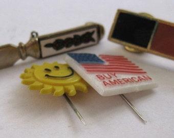 Sale Assortment of Vintage Scatter Stick Pins Buy American Flag Smiley Face Sun Knife Bar Assemblage Altered Art Supplies Destash