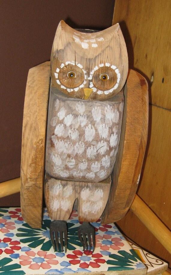 SALE Vintage Primitive Folk Art Owl Hand Carved Wood Bird Figurine Very Large
