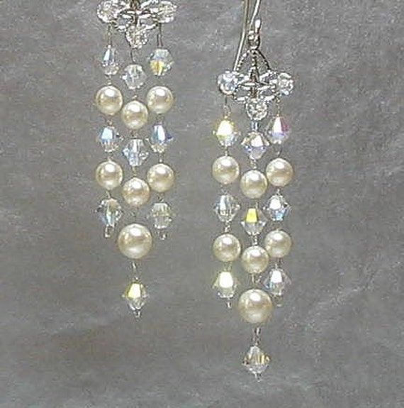 Crystal Bridal Earrings Wedding Jewelry Swarovski Pearl and Crystal Elements Sterling Silver Earwires