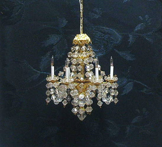 Swarovski Crystal Dollhouse Chandelier: Dollhouse Miniature Chandelier