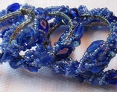 Set of Four Beautiful Deep Blue Beaded Napkin Rings