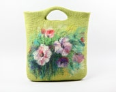 Wool felted bag purse pouch with wool painted picture of flower OOAK