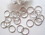 SALE Lot of 100 pcs Plated  Silver Jump Rings 10mm