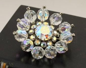 AB Crystal Brooch Aurora Borealis Crystal Flower Brooch Crystal Bead Clear Crystal Sun Burst Snow Flake AB Rhinestone Brooch Iridescent