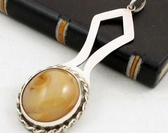 Modernist Pendant, Sterling Silver, Agate Pendant, Butterscotch Pendant, English Silver, British Jewelry, Vintage Pendant, Large Pendant
