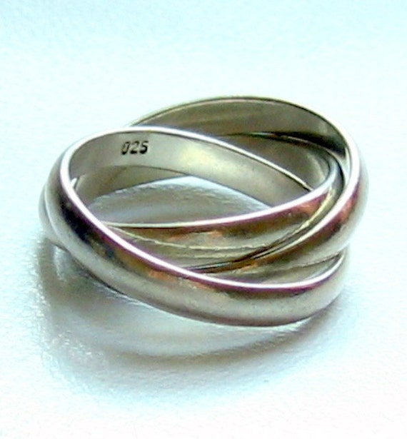 vintage russian wedding ring sterling silver tri band