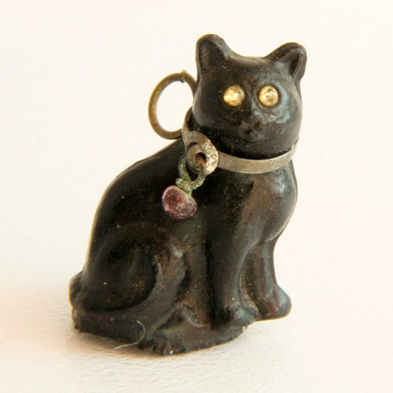 Victorian Czech Glass Lucky Black Cat Cracker Charm Antique