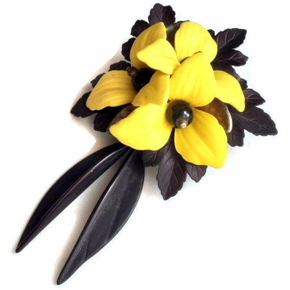 RESERVED Vintage Large Yellow Tropical Flower Brooch Pin