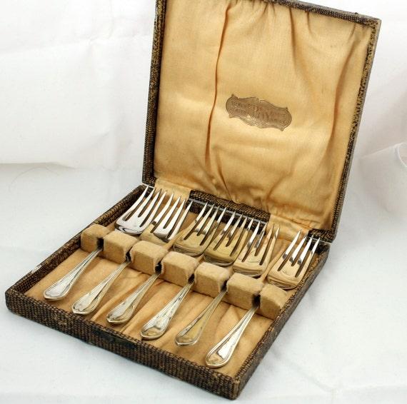 Art Deco Cake Forks : Antique Silver Plate Cake Forks EPNS Boxed Set Art Deco by ...