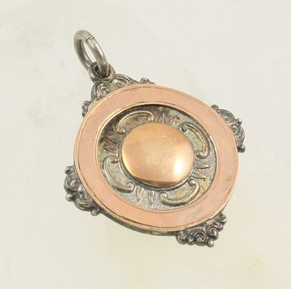 Antique Watch Fob Medal, Sterling Silver, Rose Gold, Art Deco