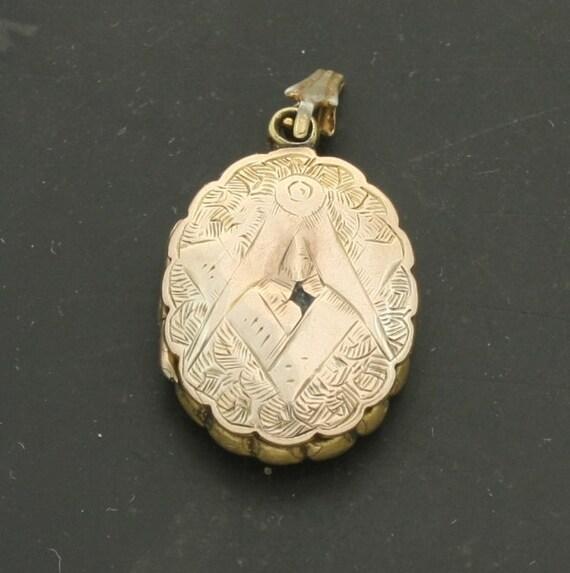 Antique Victorian Rose Gold Mourning Locket Freemason Masonic Pendant