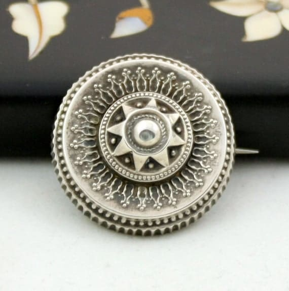Antique Victorian Silver Brooch, Etruscan Revival Pin, Repousse, Star