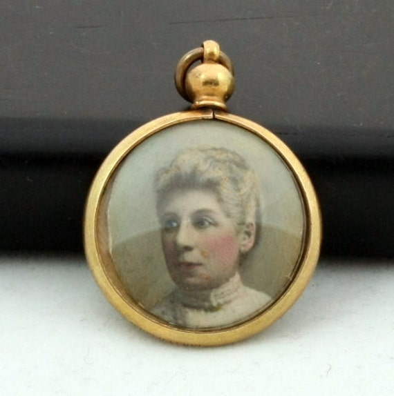Antique Double Sided Glass Photo Locket Pendant, Rolled Gold, Edwardian