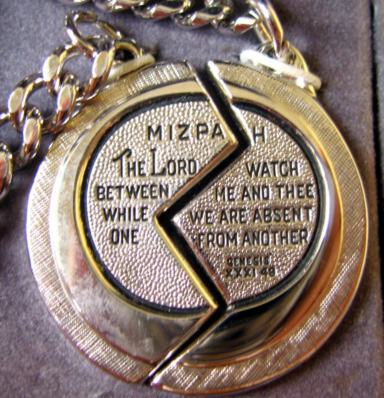 Vintage Boxed Mizpah Coin Key Ring Set