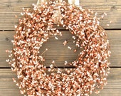 BLACK FRIDAY 15% OFF Berry Wreath for Fall - Peach Orange - Door Wreath - Front Door decor - Holidays