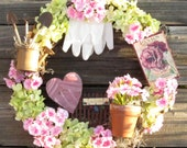 Gardener Gift - Silk Floral Round Wreath - Pink Heart, Clay Pot and Tin Pitcher -  Spring or Summer Decor
