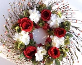 Red Roses Wreath - Silk Flower Wall Decoration - Red and White Summer Decor