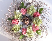Silk Floral Wreath pink - Spring Summer - door wreath - front door wreath