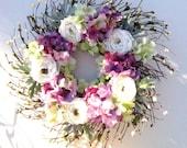 Summer Door Wreath - Purple and Green Hydrangeas and Ranunculus - Front Door or Wall Decor
