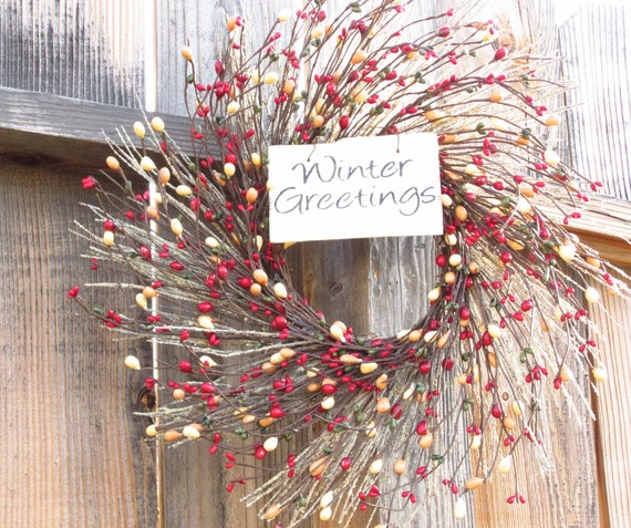 holiday wreath winter wreath front door by laurelsbylaurie. Black Bedroom Furniture Sets. Home Design Ideas