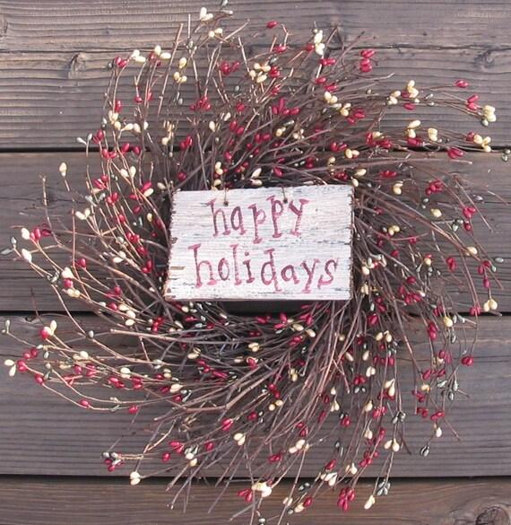 Happy Holidays Wreath - berry wreath - Door Wreath - Door Decor
