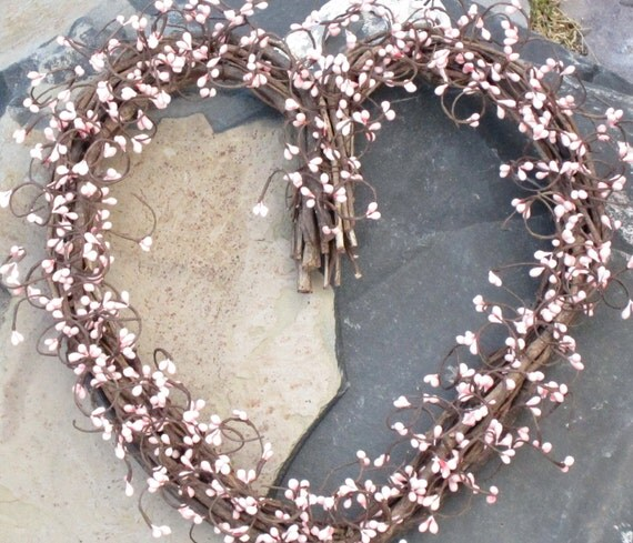 Heart Shaped Wreath - Pink pip berries - Valentines Day