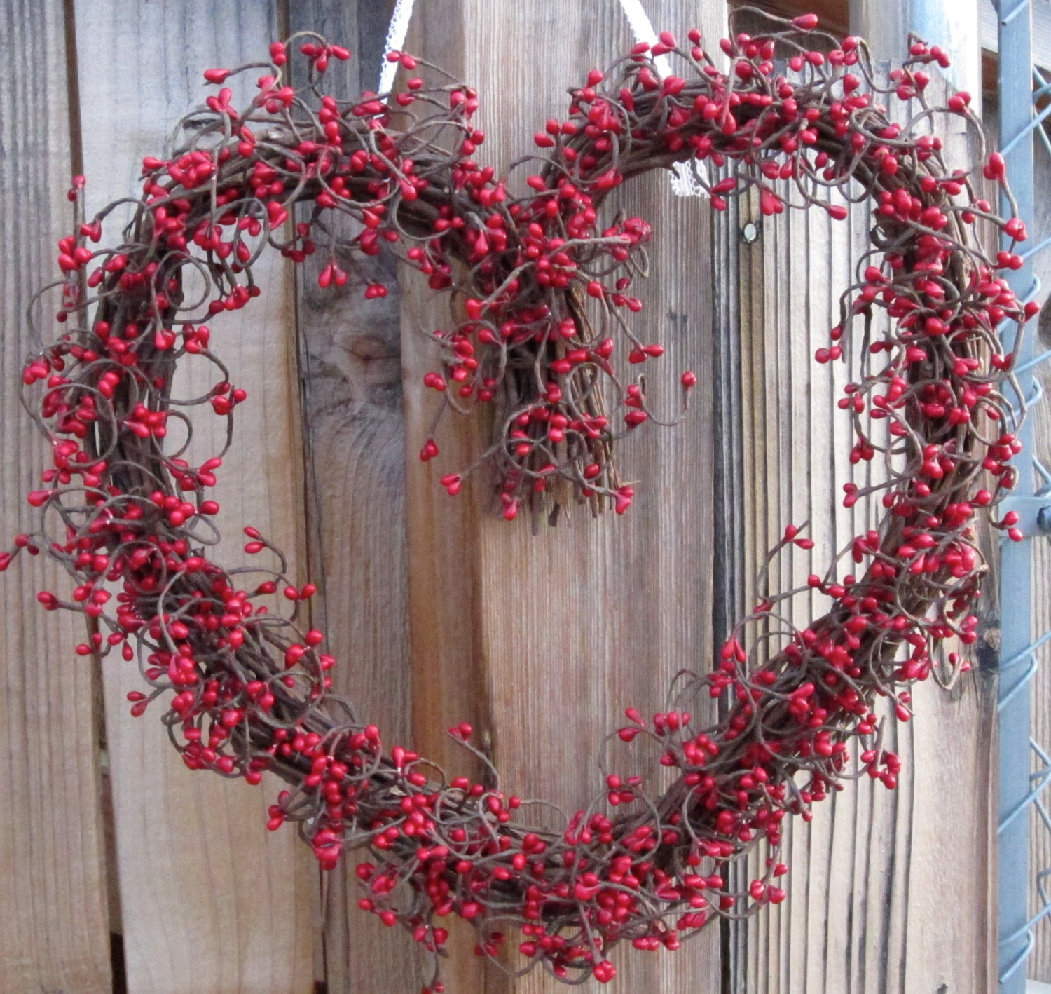 Heart Shaped Wreath Red Berry Wreath Valentines Day Door