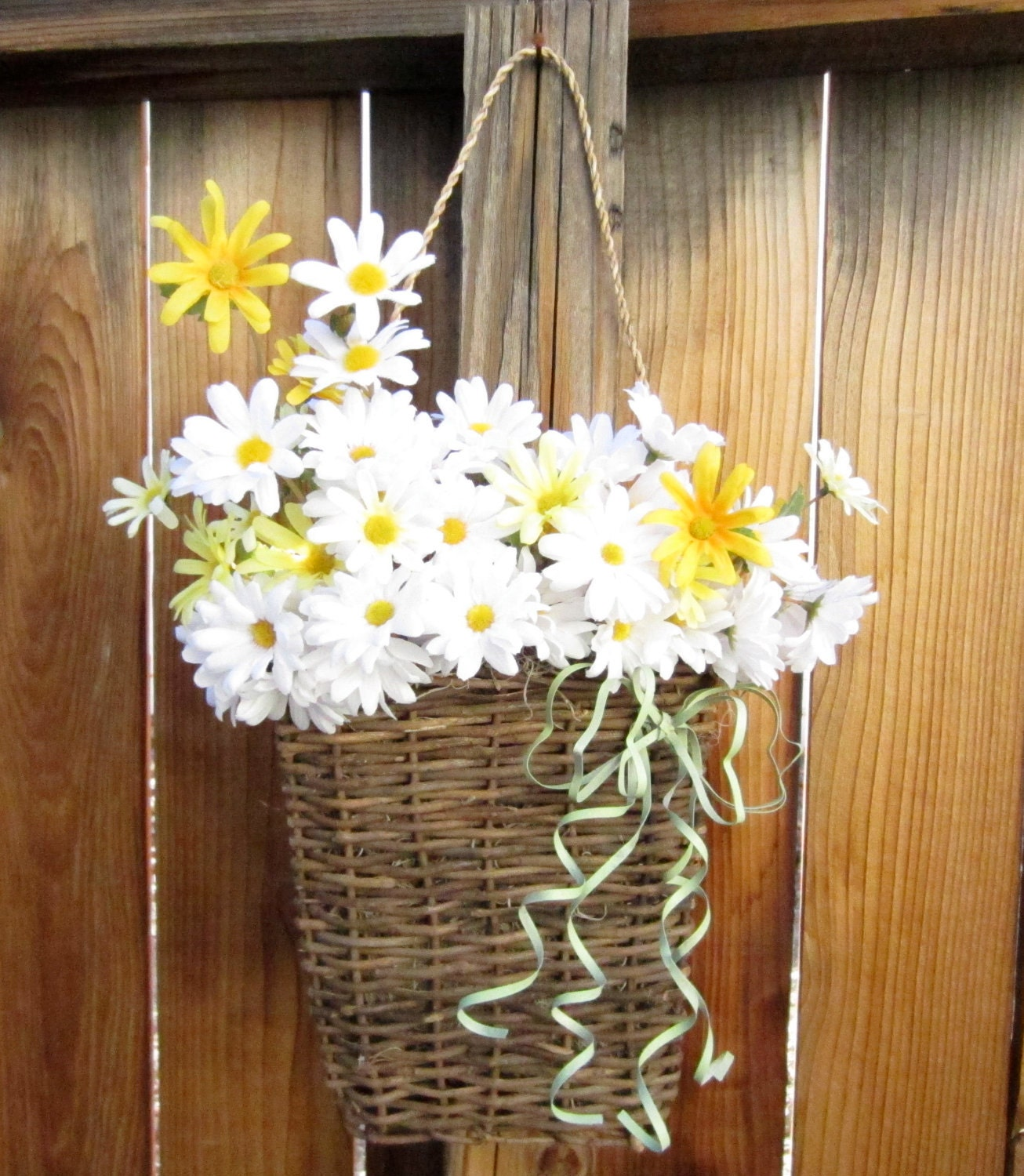 Front Door Baskets: Wall Basket With White Daisies Front Door Wreath Simple