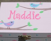 Musical jewelry box with ballerina, personalized, bird design with pink, lavender, light aqua, lime green, brown