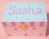 Musical jewelry box with ballerina, personalized, light aqua, purple and bright pink design with dots, stripes, flowers