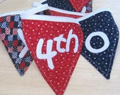 SALE-Eco-Friendly Re-usable 4th of July Fabric Banner