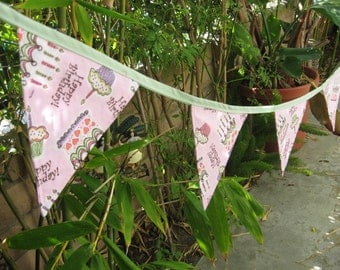 Light Pink Birthday Cake Print Re-usable Fabric Pennant Banner Eco Friendly