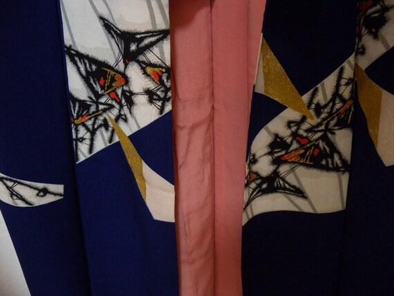 Vintage silk kimono 832, rich purple, rich red