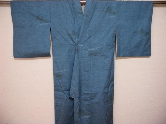Vintage kimono 1745, blue, silk, tsumugi