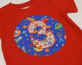 Ready to Ship... Happy 3rd Birthday Tee... Michael Miller Bot Camp and Sprockets