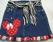 Ladies, womens,Minnie mouse, ribbon, decodenim skirt, deco denim,size 4,6,8,10,12,14