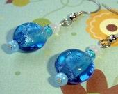 Aqua Blue Beaded Dangles