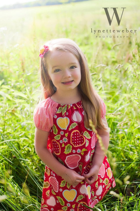 Peasant dress - Summer Apples in red- Available sizes: 12 months - 4T
