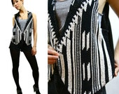 Vintage NAVAJO Look Black and White Vest Sz. S-M