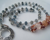 Aquamarine, Sapphire and Silver Necklace - Autumn Sky Necklace