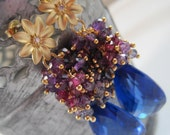 RESERVED for Cassandra - Midnight in November - Amethyst, Kyanite, Garnet, Topaz Earrings