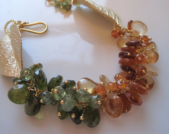 Gold and vessonite and hessonite garnet, zircon and apatite bracelet - Maple Sugar Bracelet -