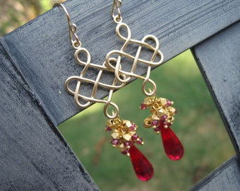 Eternity Earrings - Red Topaz and Rhodolite Garnet
