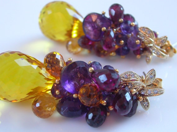 Celebration Earrings - Citrine and Amethyst