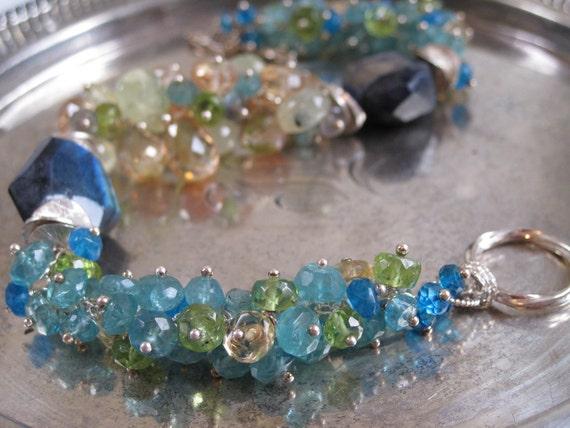 Delta Breeze Bracelet - Apatite, Peridot, Citrine, Labaradorite, Silver bracelet