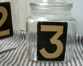Number Three apothecary jar glass canister Upcycled vintage Industrial Chic