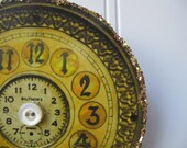 Clock face Ornament Vintage clockface images and French text Golden Shabby Chic New Years ornament N26