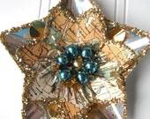 Map Reflector Christmas ornament upcycled Vintage Silver  gold and aqua star N8